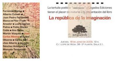 """Tertulia Poética: """"La república de la imaginación"""""""