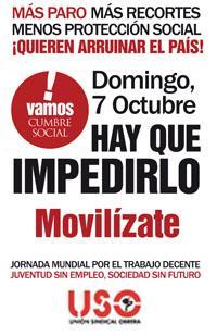 Domingo 7 de octubre, convocadas movilizaciones en toda España